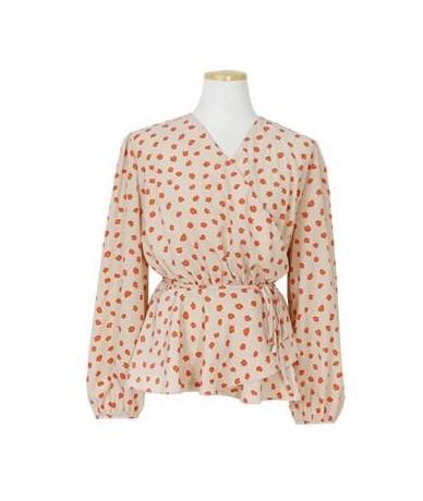 V Neck Tops Women Fashion Cute Sweet Preppy Korean Style Design Slim Waist Peplum Top Polka Dot Chiffon Blouse Shirts - cute...