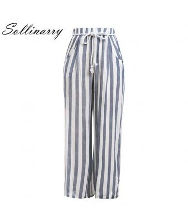 Sollinarry Blue & White Striped Long Pants Women Autumn High Waist Wide Leg Pants Streetwear Casual Loose Pants Pantalones M...