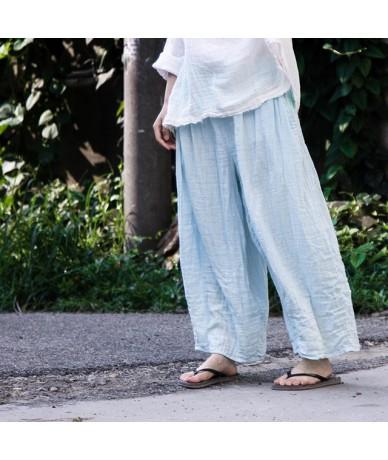 Women Wide Leg Pants 2019 Fall New Elastic Waist Casual Vintage Trouser Pockets Loose Cotton Brief Women Pants - Blue - 4H39...