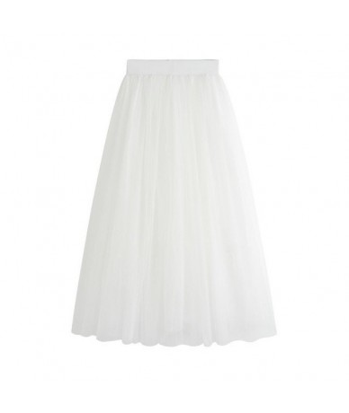 2019 Elastic High Waist Tulle Mesh Midi Skirt Summer Vintage Womens Long A Line Pleated Tutu Female Jupe Longue S1631 - Whit...