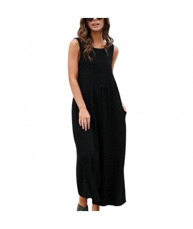 Women ONeck Casual Sleeveless Jumpsuits Summer Solid Wide Leg Loose Jumpsuit Rompers Sexy Backless Lady Playsuits - black - ...