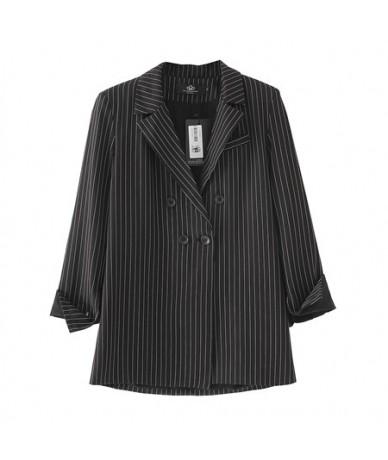Women Spring Summer Striped Pink Blazer Thin Jacket Turn Down Collar Female Blazer Casual office Ladies Suit Outwears - blac...