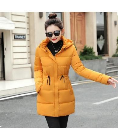 parka women 2019 Winter Jacket Women Coats Hooded Coats Female Parka Thick Cotton Padded Lining Winter Female Coats - Yellow...