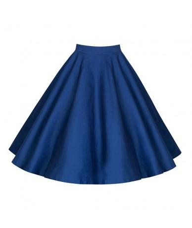 Newly Women Retro Vintage A Line Knee-length Skirt Swing Flared Pleated Skater Mid Skirts FDM - Blue - 4G4160073109-2