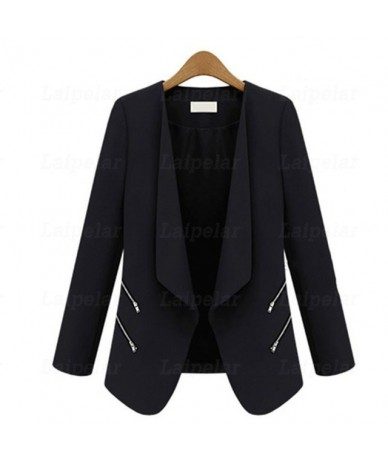 Ladies Blazer Zipper Pocket Jacket Long Sleeve Blaser Women Single Button Slim Suit Jacket Female Blazer Autumn Top - Black ...