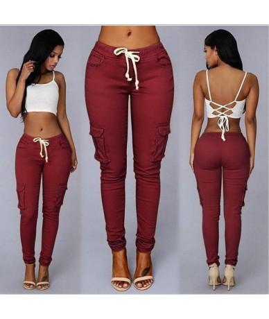 Elastic Sexy Skinny Pencil Jeans For Women Leggings Jeans Woman High Waist Jeans Women's Thin-Section Denim Pants - Burgundy...