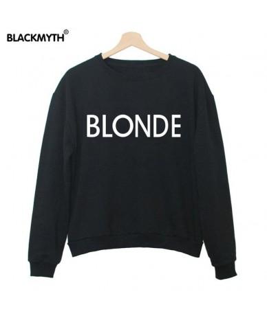 BLONDE Letters Fashion Printing Women Sweatshirt Casual Long sleeve Round Collar Black White Comfortable - Black - 4S3859291...