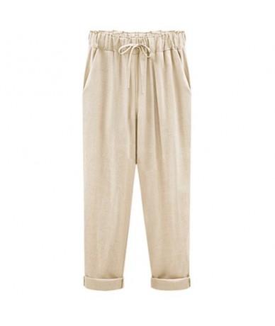 M-6XL Plus Size Women Pants Linen Cotton Casual Harem Pants Candy Color Harajuku Green Trousers Female Ankle-length Length P...