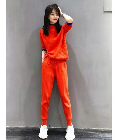 Half Turtleneck Casual Knitting Tracksuits For Women 2019 Summer Fall New Drawstring Tie up Thin Sweater and Pants Two Piece...