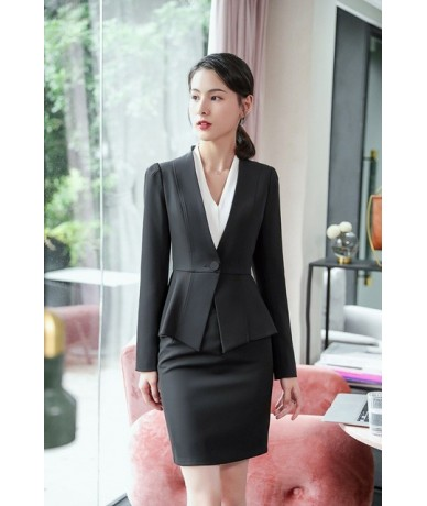 New Spring Office Clothes For Ladies Uniform Business Blazer Work Suit Styles Formal Women Skirt Suits And Jacket beige - bl...