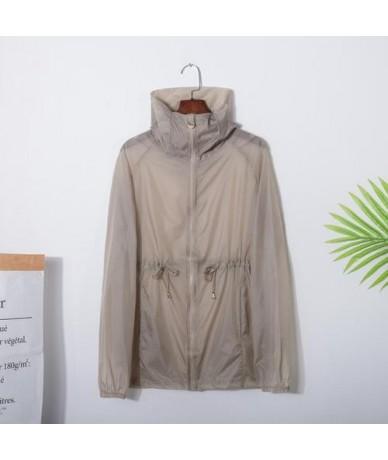 Summer Jacket Women 2019 Zip Up Hoodie Jacket Woman Casual See-through Windbreaker Ladies Sunscreen Tops YY162 - Grey - 4341...
