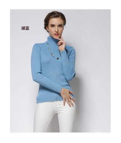2019 autumn and winter cashmere sweater high collar slim sweater women's shirt long-sleeved solid color sweater shirt - Lake...