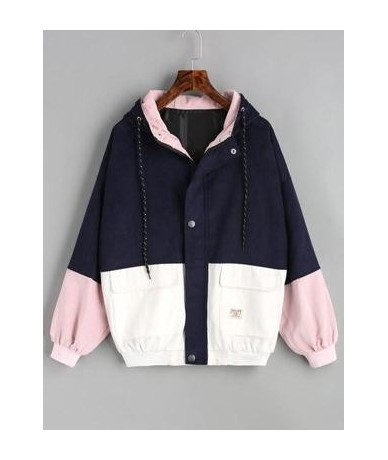 Women Harajuku Coat Hooded Color Block Jacket Corduroy Oversize Zipper Pockets Bomber 2018 Fall Winter Vintage Jacket - purp...
