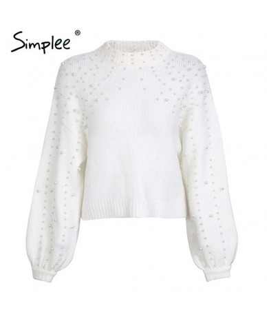 Pearl turtleneck winter knitted sweater Women lantern sleeve loose gray pullover female Soft warm autumn casual jumper - Whi...