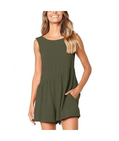Solid Color Jumpsuit Women Summer Loose Sleeveless Casual Concise Jumpsuits New Style All-match Jumpsuits - Green - 40000520...