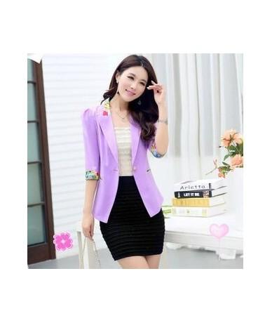 Summer Fall 2019 Floral Blazer Three Quarter Sleeve Candy Blazer Women Flower Slim Office Suit Thin Coat Plus Size S-2XL Y79...