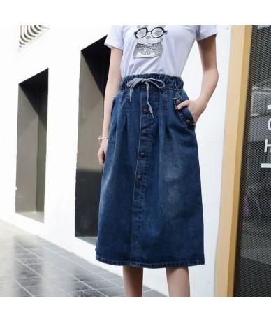 2019 High Waist Cotton Denim Women Long Skirt Lace-Up Waist Oversize Women Denim Skirt Plus Size 7XL Women Skirts Faldas Sai...
