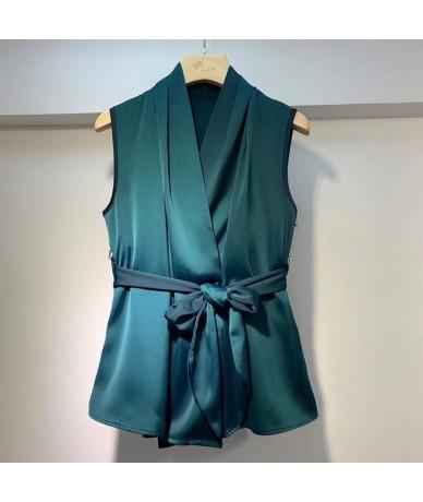 2019 Fashion Summer Women Sleeveless Satin Shirts Sexy Lady Lace Up Waist Satin Tops Women Office Sleeveless Satin Silk Tops...