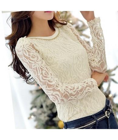 New 2019 Fashion Plus Size Long Sleeve Crochet Black And White Body Lace Chiffon Blouse Women Elegant Vintage Female Shirt 6...