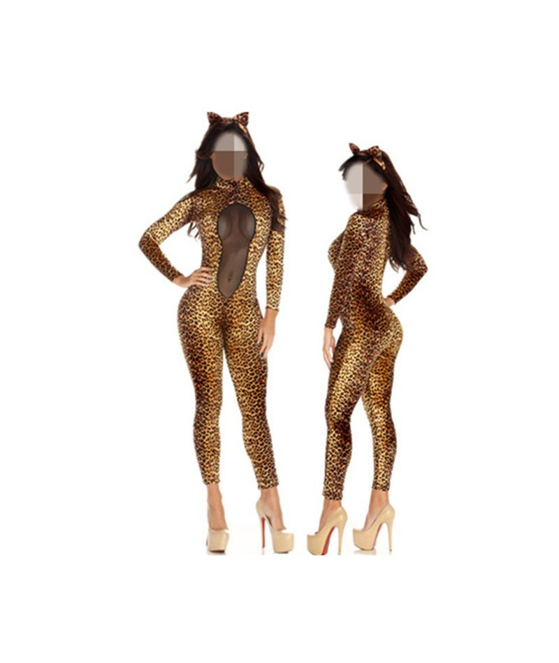 Sexy Mesh Patchwork See-through Leopard Print Jumpsuits Womens Long Sleeve Sexy Bodycon Skinny Bodysuit Rompers Cats Costume...
