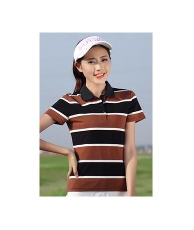 2018 New Women's Summer Polo Shirts Ladies Casual Plus Size Cotton Polo Women Striped Short Sleeve POLOS 4Color PQ336 - Coff...
