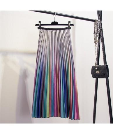 2019 New Arrival Women Cartoon Printed Elegant Pleated Long Skirts High Waist Harajuku Tulle A-Line Mid-Calf Skirts - purple...