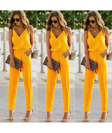 Solid Women Summer Spaghetti Strap Jumpsuits New Beach V Neck Rompers Female Streetwear Casual Sleeveless One Piece Overalls...