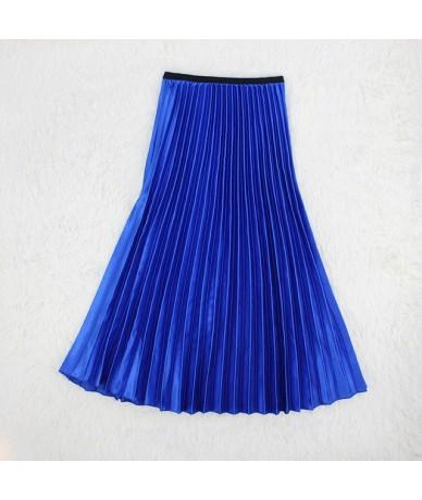 Summer Women Pleated Skirt Metallic Solid Color Long Skirt Green Midi High Waist A-line Saia Faldas Mujer Moda 2019 - blue -...