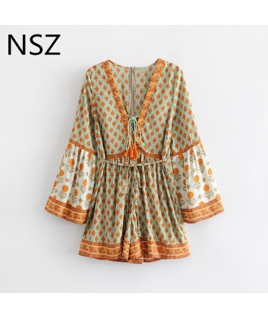 Women Cotton Summer Bohemian Beach Kimono Playsuit Flare Sleeve Deep V Neck Belt Loose Casual Shorts Rompers Overalls - Khak...