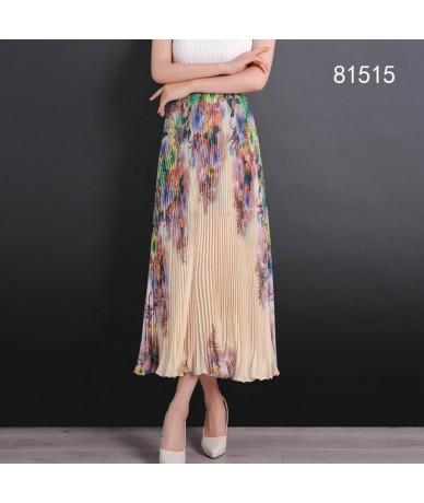 Casual Accordion Pleated Skirts Womens Spring Summer 2018 New Fashion Chiffon Long Skirt Elastic High Waist Skirt Women - YE...