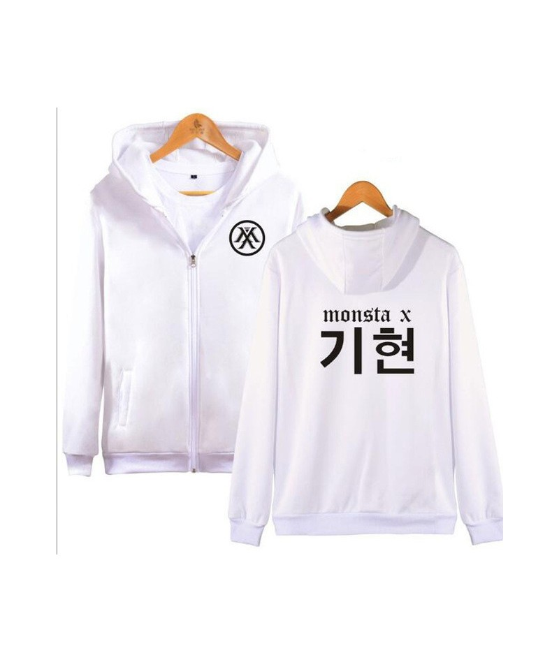 K-POP Monsta X Zipper Harajuku Hoodies Sweatshirt Women Men Winter Korean Fashion Hip Hop Fleece Hooded Jacket Moletom Femin...