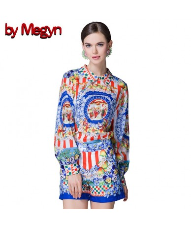 Runway Designer Casual Holiday Vacation Shorts Set Women's Long Sleeve Print Blouses + Shorts Two Pieces Set Suit matching s...
