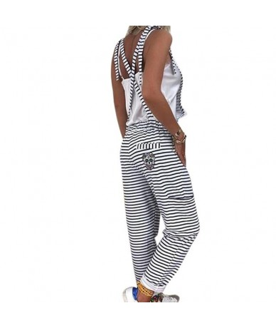 Women Black White Striped Jumpsuits Overalls Sleeveless Summer Plus Size Jumpsuit Loose Casual Baggy Bib Pants Rompers - Bla...
