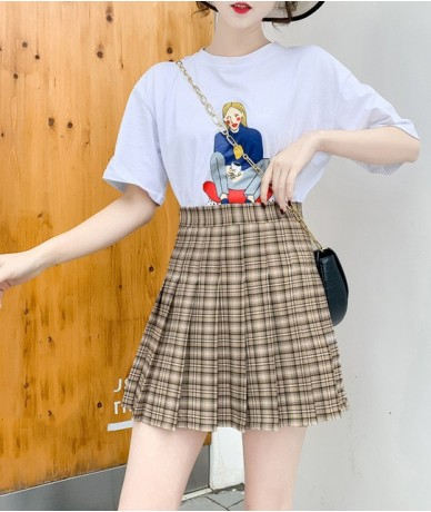 2019 Summer Plaid Women Skirt Mini Empire A-Line Japanese Kawaii Skirt Above Knee Casual Student School Uniform Vintage Skir...