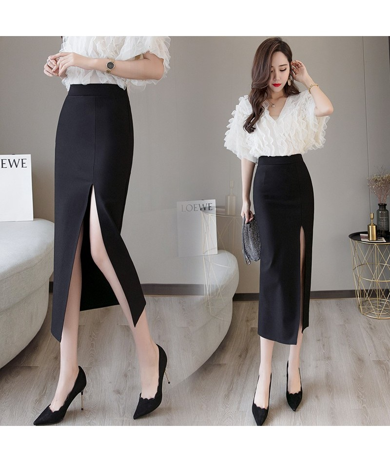Black Sexy Plus Size Bodycon Pencil Long Skirts with Slit Womens High Waisted Elastic Red Bag Hip Skirt Step Skirt Clothes 2...