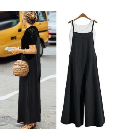 New Summer Women Strappy Solid Comfy Wide Leg Jumpsuits Women's Casual Loose Dungarees Bib Overalls Cotton Linen Rompers S-5...