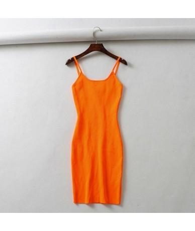 Fluorescence Stretch Knitting Mini Dress Women Sexy Straps Slim Fit Party Dresses Vestidos Femme - Orange - 4D3092893723-1