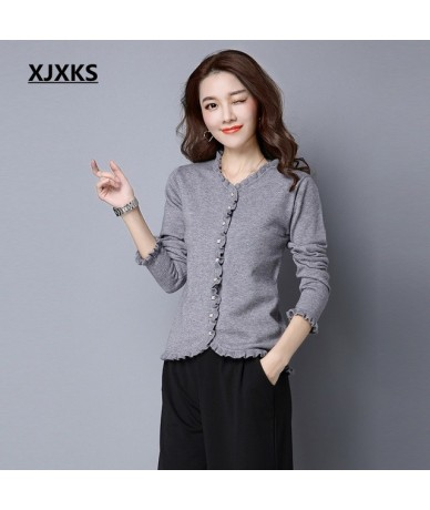 Original ruched design 2019 new product women cardigan sweater ladies single breasted stretch casual women sweater coat - Gr...