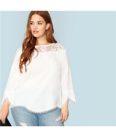 Plus Sheer Shoulder Lace Trim Top Women 2019 Spring Solid Three Quarter Length Sleeve Blouses Elegant White Top - White - 49...