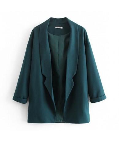 2019 Women Spring Vintage Shawl Collar Solid Grey Color Blazer Oversized Open Stitching Long Suit Jacket Coat - bluegreen - ...