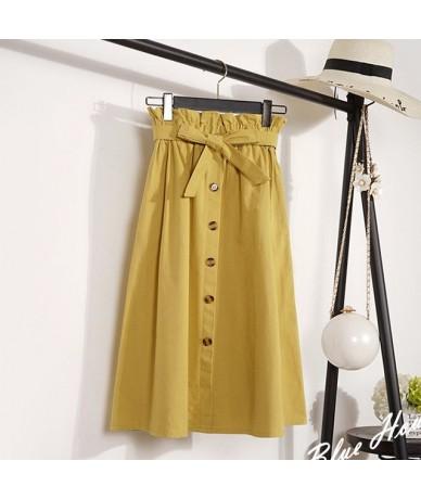 2019 Womens Skirts Elegant Button High Waist Korean Skirt Female Pleated A-Line Mid-Calf Skirt Plus Size Femininas Faldas Mu...