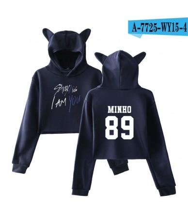 kpop 2018 Stray Kids I Am You Idol Changbin 99 Print oversized hoodies sweatshirts Women Sex Crop Top Cat clothes 2XL - navy...