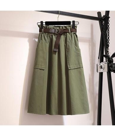 Midi Knee Length Summer Autumn Skirt Women No Belt Casual Cotton Solid High Waist Sun School Skirt Female - Green - 4K416181...