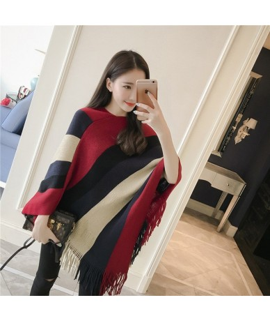 2018 Scarf Women Striped Ponchos And Capes Bat Sleeve Women Pullover And Sweater Tassels Poncho Cloak Coat Outwear - red - 4...