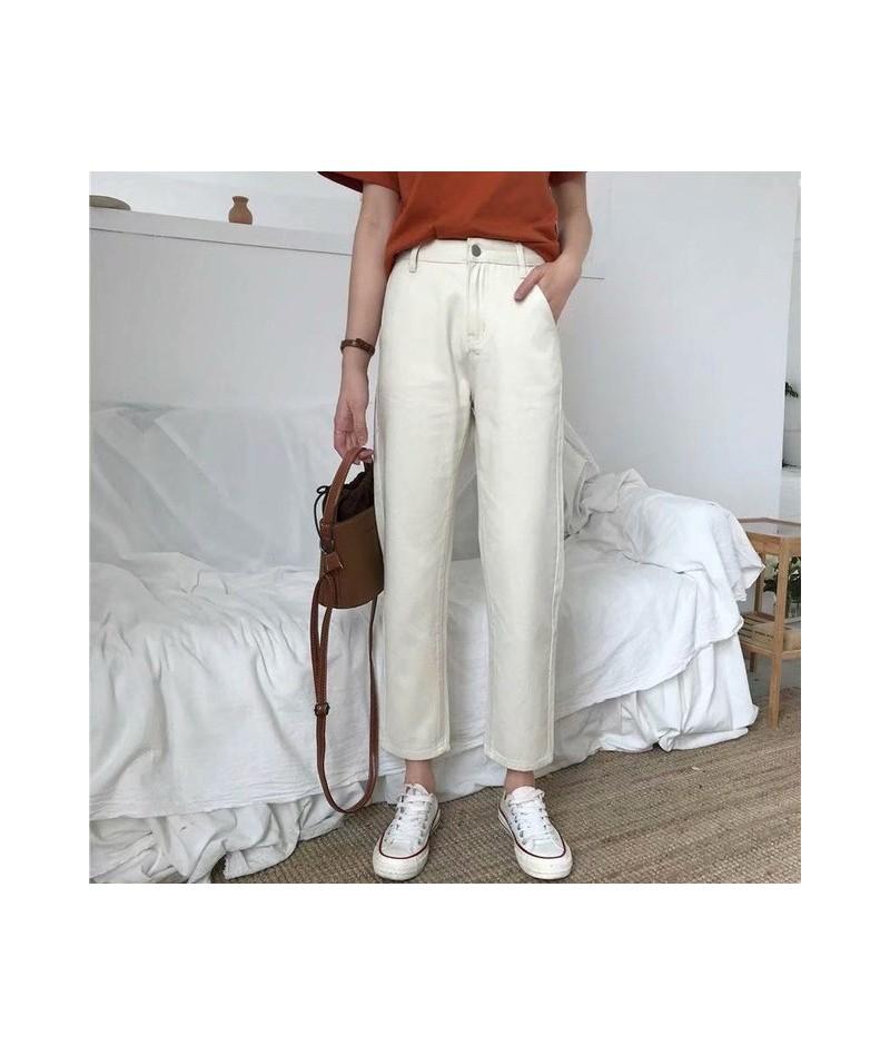 2019 Autumn Summer Women Preppy Jeans Mid Solid Casual Ankle Black Blue Straight Denim Pants - White - 5U111183262405-3