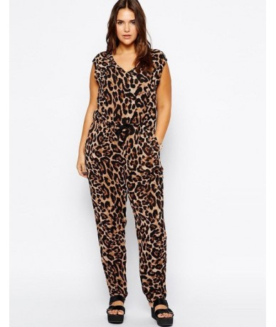 Leopard Jumpsuit Plus Size Women 6XL Big Large Summer Rompers Jumpsuits Long 5XL Lady Casual Overalls V neck Sleeveless 4XL ...