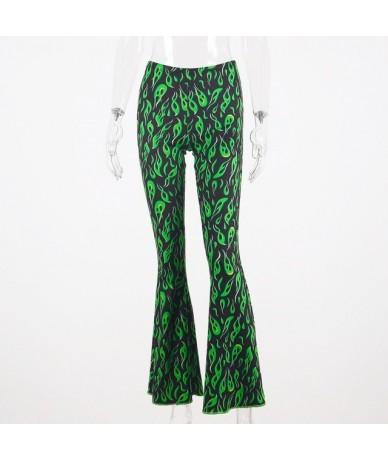 print pattern flare pants 2019 summer women fashion high waist club party trousers - Green - 4E4164720821