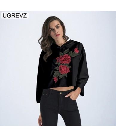 2019 Spring Crop Top New Fashion Hoodies Women Embroidery Long Sleeve Hoodie Sweatshirt for Women Hooded Pullover Tops Short...