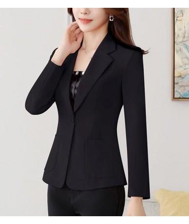 Spring Fall Fashion Womens Suit Collar Long Sleeve One Button Yellow White Black Blazer Top Female Women 3xl 4xl Slim Blazer...