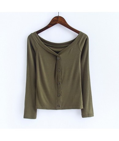 Women Off The Shoulder Long Sleeve Tops Center Front Buttons Tight Fitting Shirt Adira Top - army green - 4H3896719480-4